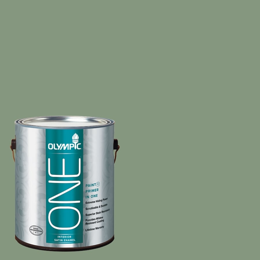 Olympic ONE Mesa Verde Satin Latex Interior Paint and Primer In One (Actual Net Contents: 116-fl oz)