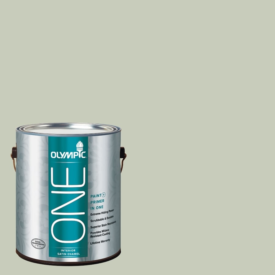 Olympic ONE Frosty Pine Satin Latex Interior Paint and Primer In One (Actual Net Contents: 124-fl oz)