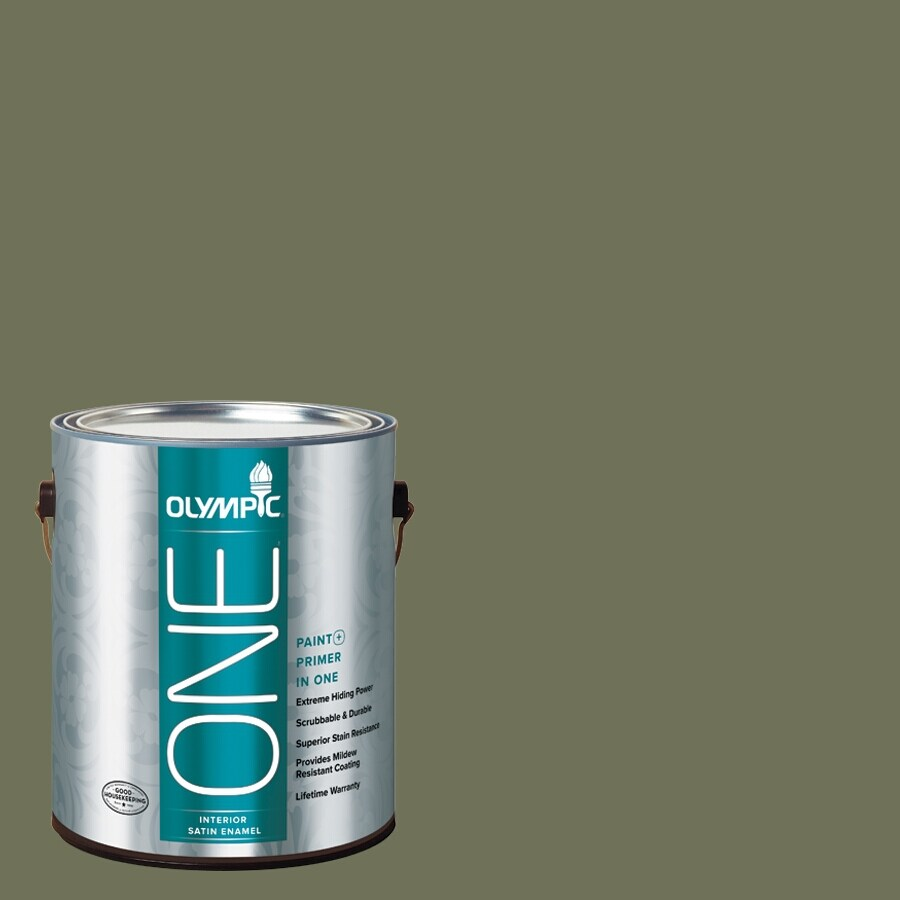 Olympic ONE Dark Sage Satin Latex Interior Paint and Primer In One (Actual Net Contents: 114-fl oz)