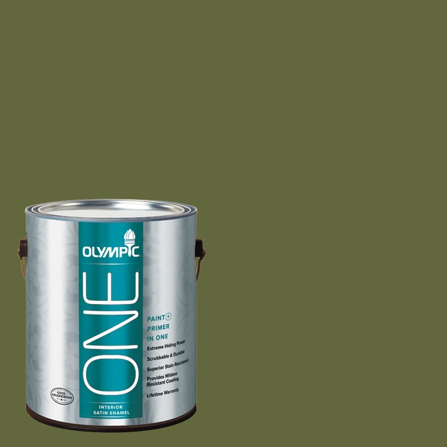 Olympic ONE Globe Artichoke Satin Latex Interior Paint and Primer In One (Actual Net Contents: 114-fl oz)