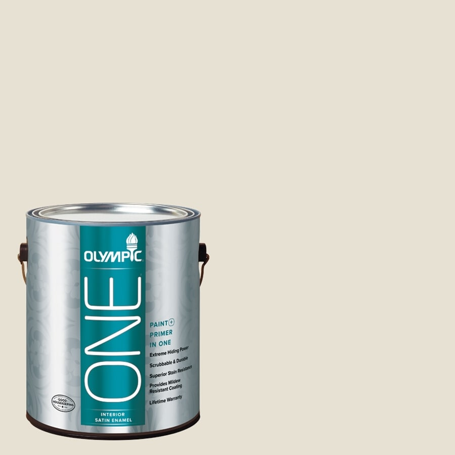 Olympic ONE Off White Satin Latex Interior Paint and Primer In One (Actual Net Contents: 124-fl oz)