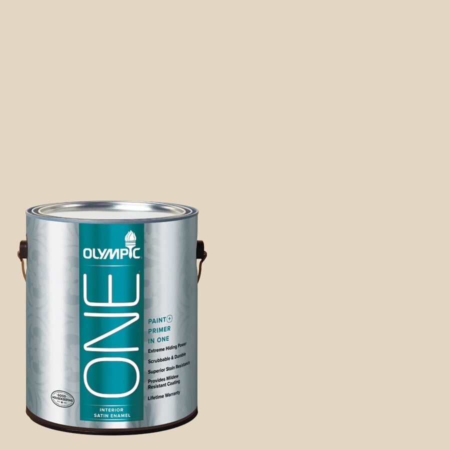 Olympic ONE BONE White Satin Latex Interior Paint and Primer In One (Actual Net Contents: 124-fl oz)