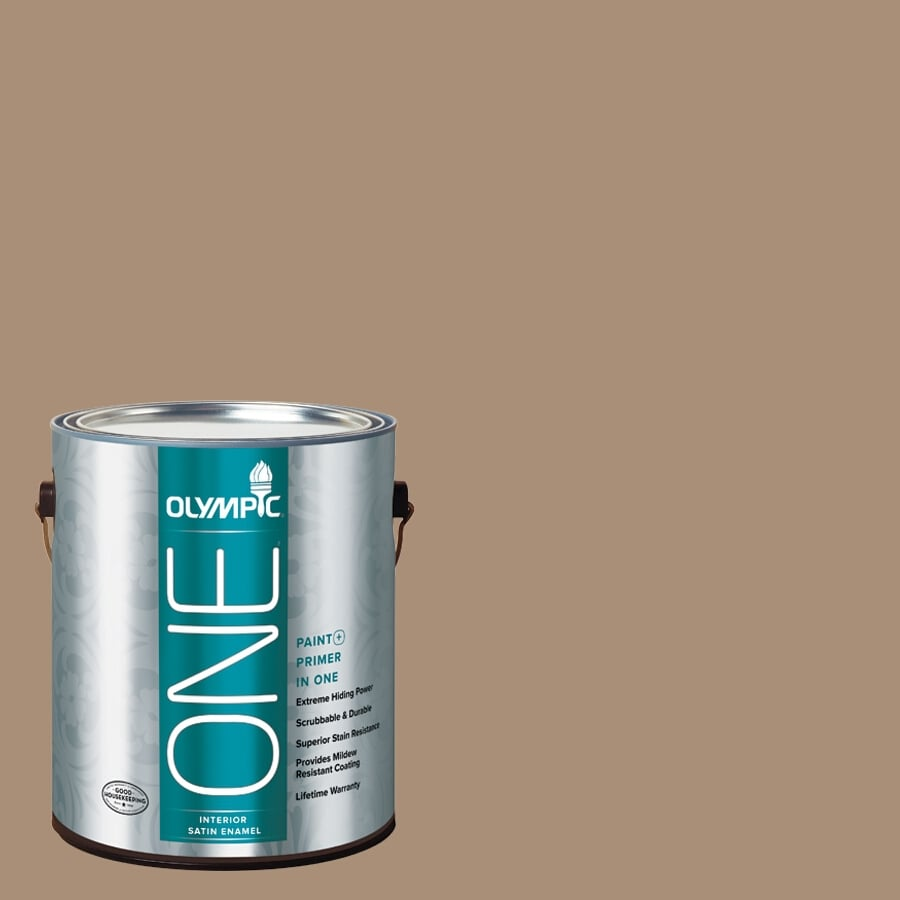 Olympic ONE Sauteed Mushroom Satin Latex Interior Paint and Primer In One (Actual Net Contents: 116-fl oz)