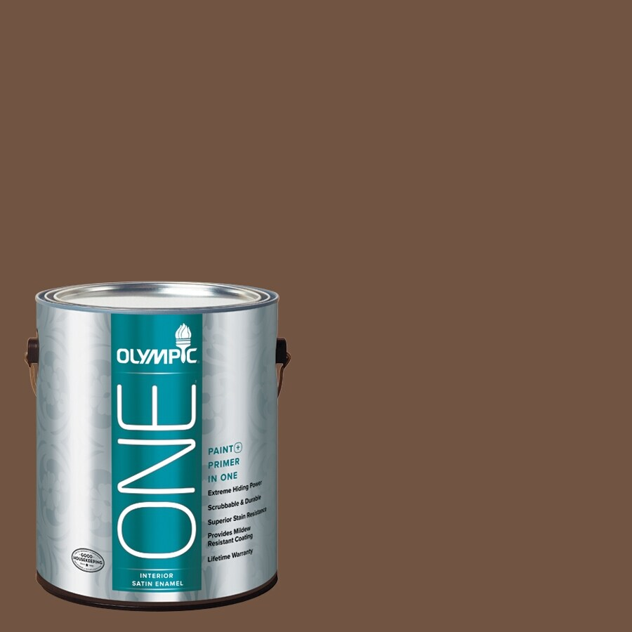 Olympic ONE Chocolate Kiss Satin Latex Interior Paint and Primer In One (Actual Net Contents: 114-fl oz)
