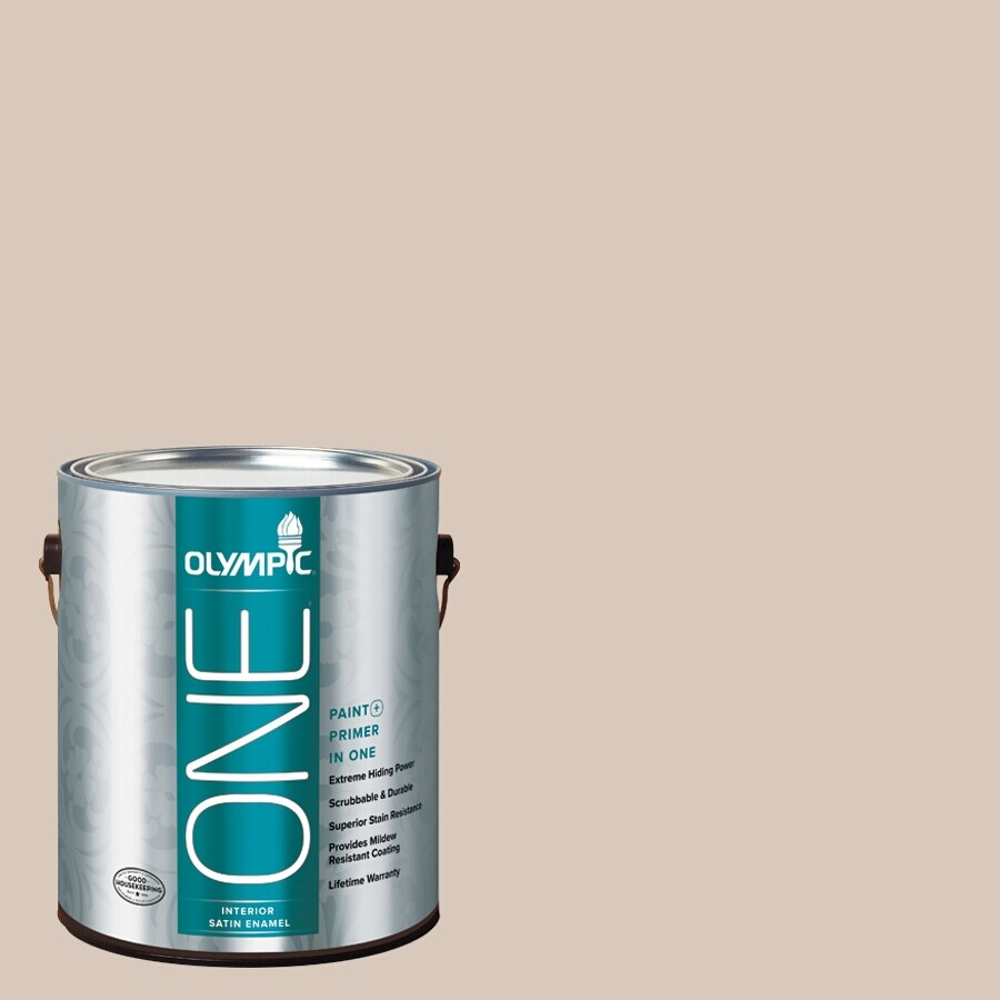 Olympic ONE Bermuda Sand Satin Latex Interior Paint and Primer In One (Actual Net Contents: 124-fl oz)