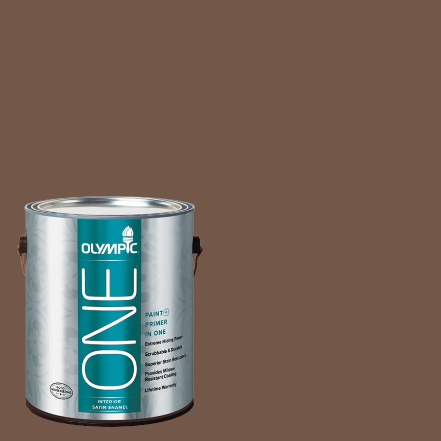 Olympic ONE Chocolate Curl Satin Latex Interior Paint and Primer In One (Actual Net Contents: 114-fl oz)