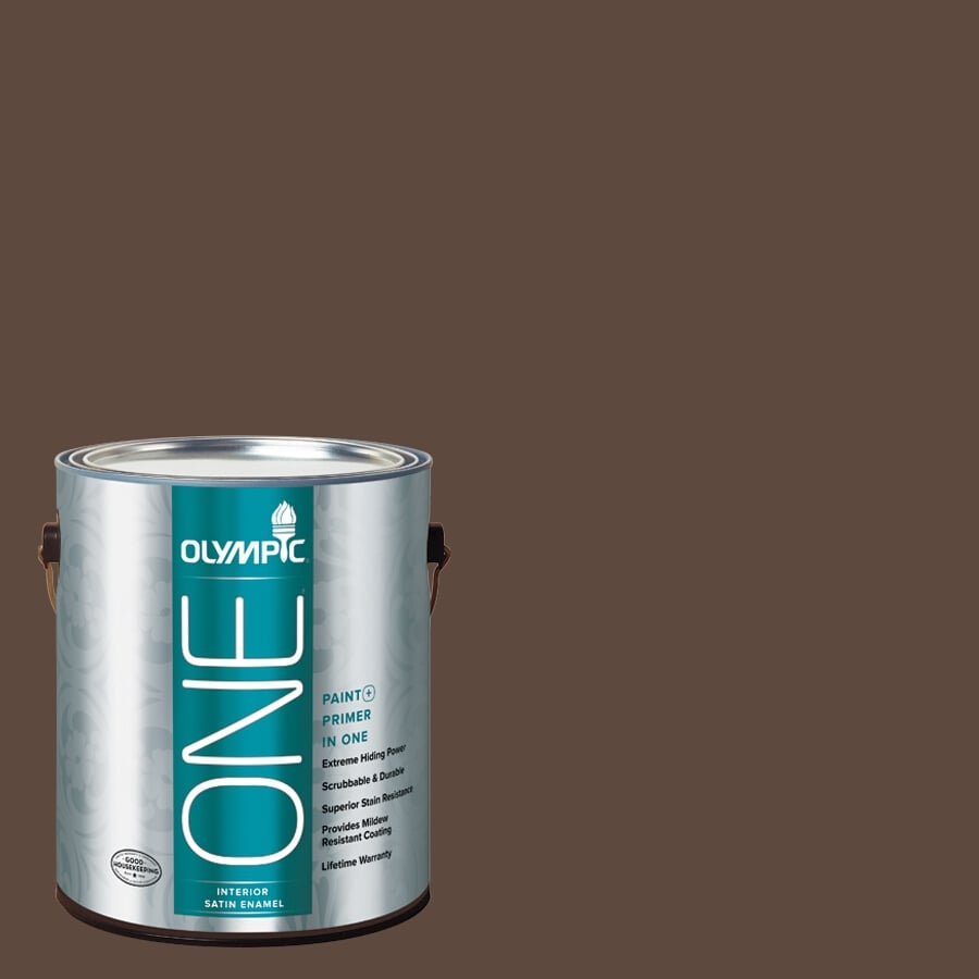 Olympic ONE Fudge Truffle Satin Latex Interior Paint and Primer In One (Actual Net Contents: 114-fl oz)