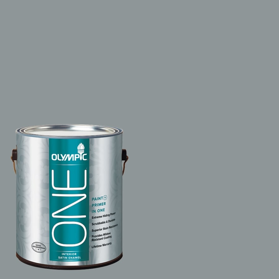 Olympic ONE Steeple Gray Satin Latex Interior Paint and Primer In One (Actual Net Contents: 116-fl oz)