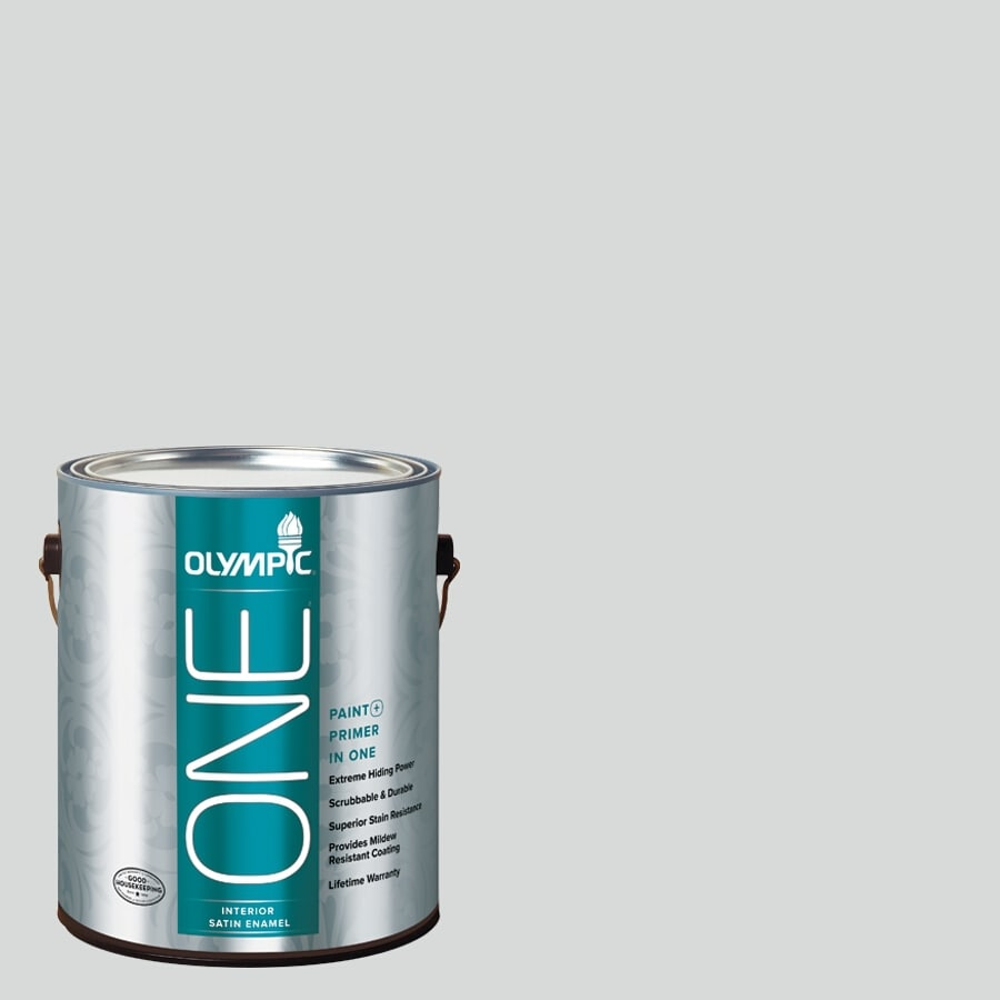 Olympic ONE Thin Ice Satin Latex Interior Paint and Primer In One (Actual Net Contents: 124-fl oz)