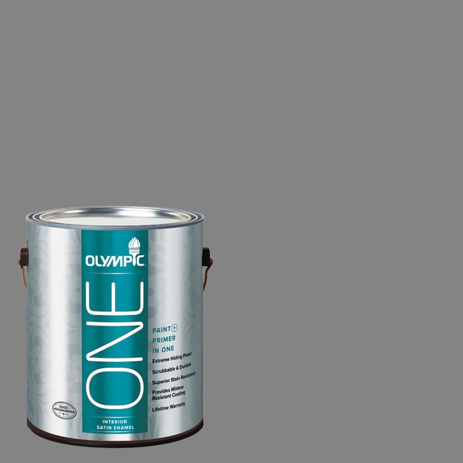 Olympic ONE Dover Gray Satin Latex Interior Paint and Primer In One (Actual Net Contents: 116-fl oz)
