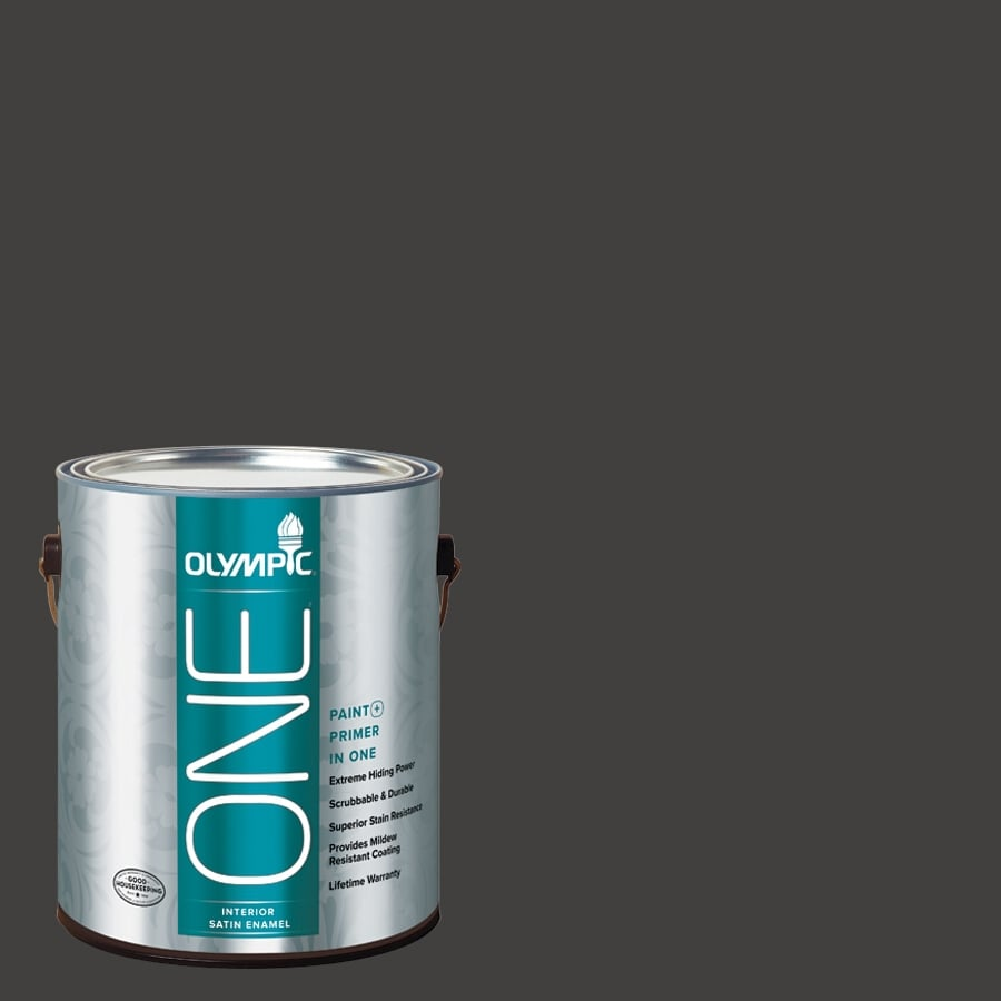 Olympic ONE Black Magic Satin Latex Interior Paint and Primer In One (Actual Net Contents: 114-fl oz)