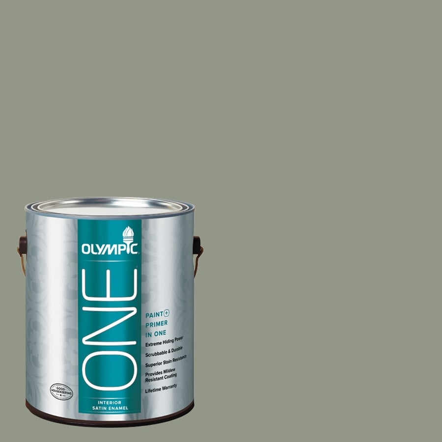 Olympic ONE Green Tea Leaf Satin Latex Interior Paint and Primer In One (Actual Net Contents: 116-fl oz)