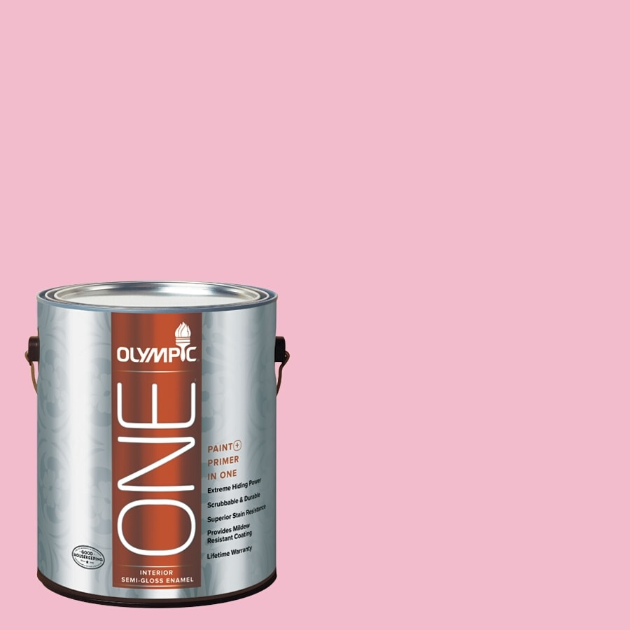 Olympic ONE Pink Persuasion Semi-Gloss Latex Interior Paint and Primer In One (Actual Net Contents: 124-fl oz)