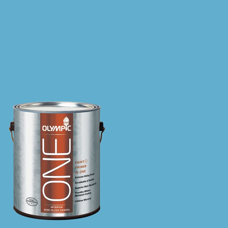 Olympic ONE Salem Blue Semi-Gloss Latex Interior Paint and Primer In One (Actual Net Contents: 116-fl oz)
