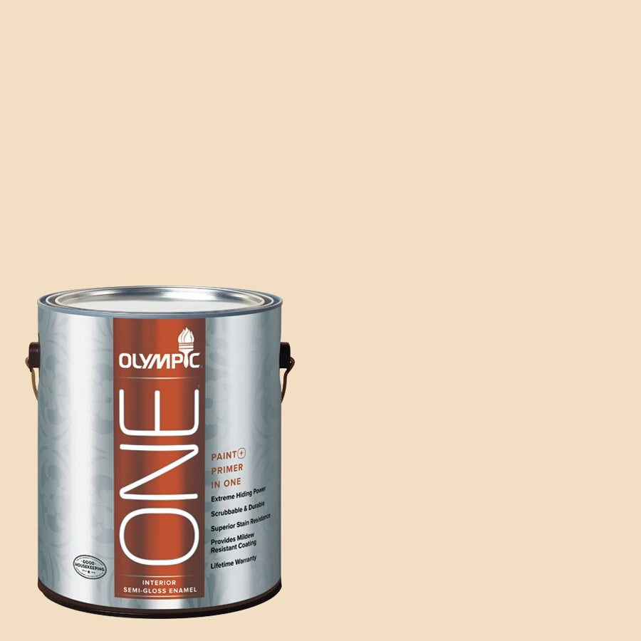 Olympic ONE HONEy Beige Semi-Gloss Latex Interior Paint and Primer In One (Actual Net Contents: 124-fl oz)