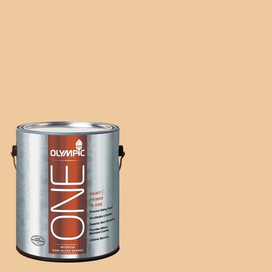 Olympic ONE Toffee Crunch Semi-Gloss Latex Interior Paint and Primer In One (Actual Net Contents: 124-fl oz)