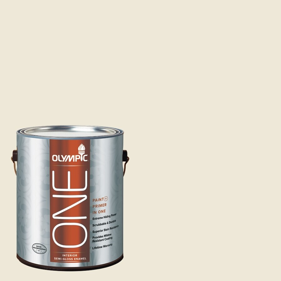 Olympic ONE Ivory Tower Semi-Gloss Latex Interior Paint and Primer In One (Actual Net Contents: 124-fl oz)