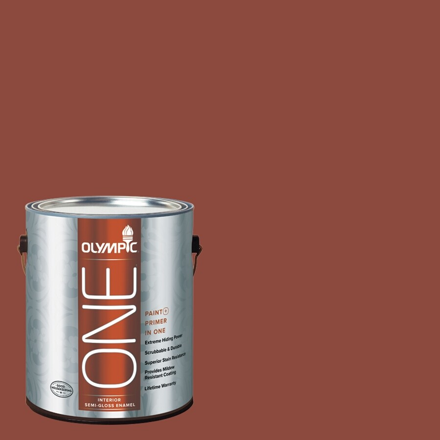 Olympic ONE Cedar Chest Semi-Gloss Latex Interior Paint and Primer In One (Actual Net Contents: 114-fl oz)
