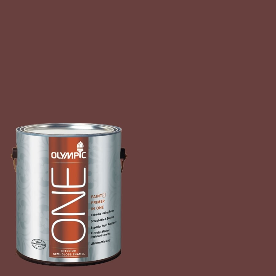 Olympic ONE Burgundy Wine Semi-Gloss Latex Interior Paint and Primer In One (Actual Net Contents: 114-fl oz)