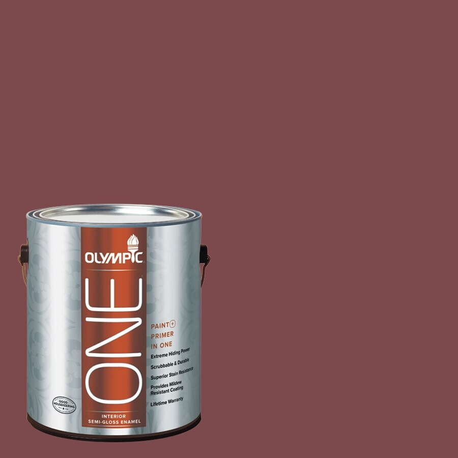 Olympic ONE Sun Dried Tomato Semi-Gloss Latex Interior Paint and Primer In One (Actual Net Contents: 114-fl oz)