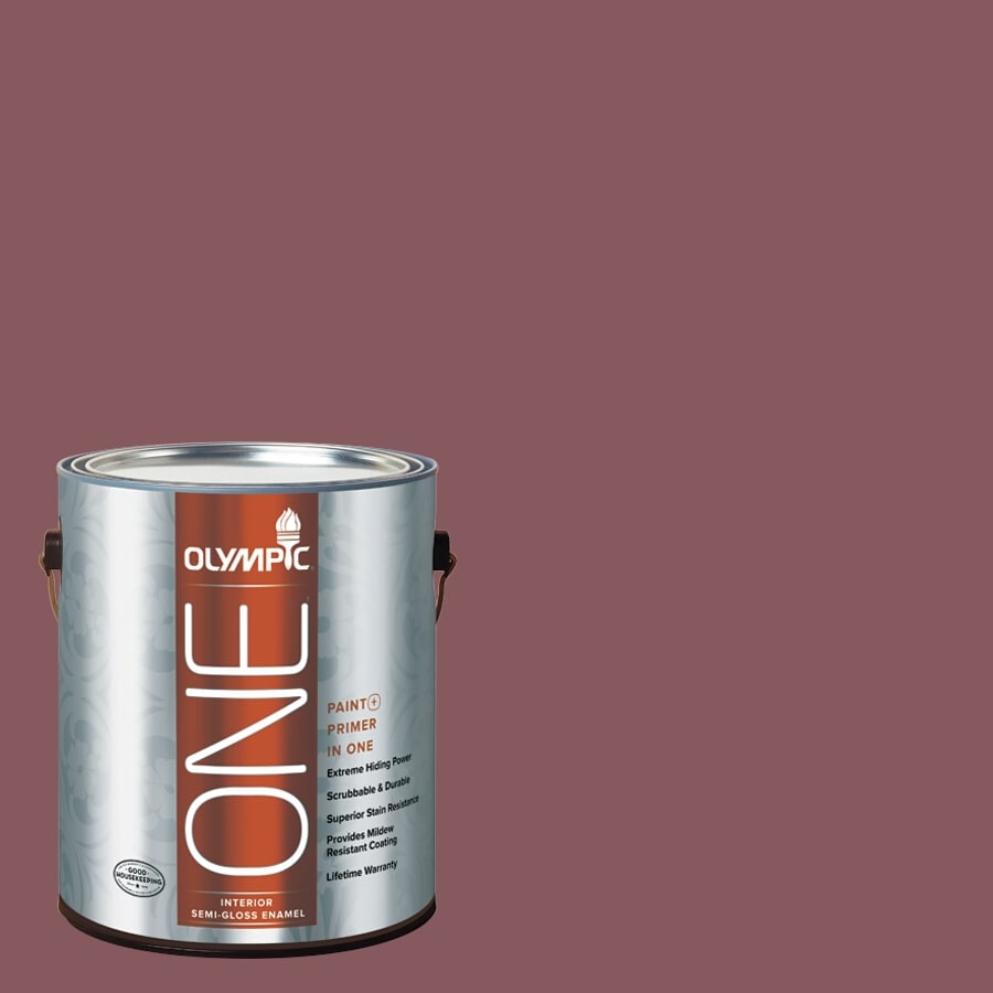 Olympic ONE Old Burgundy Semi-Gloss Latex Interior Paint and Primer In One (Actual Net Contents: 114-fl oz)