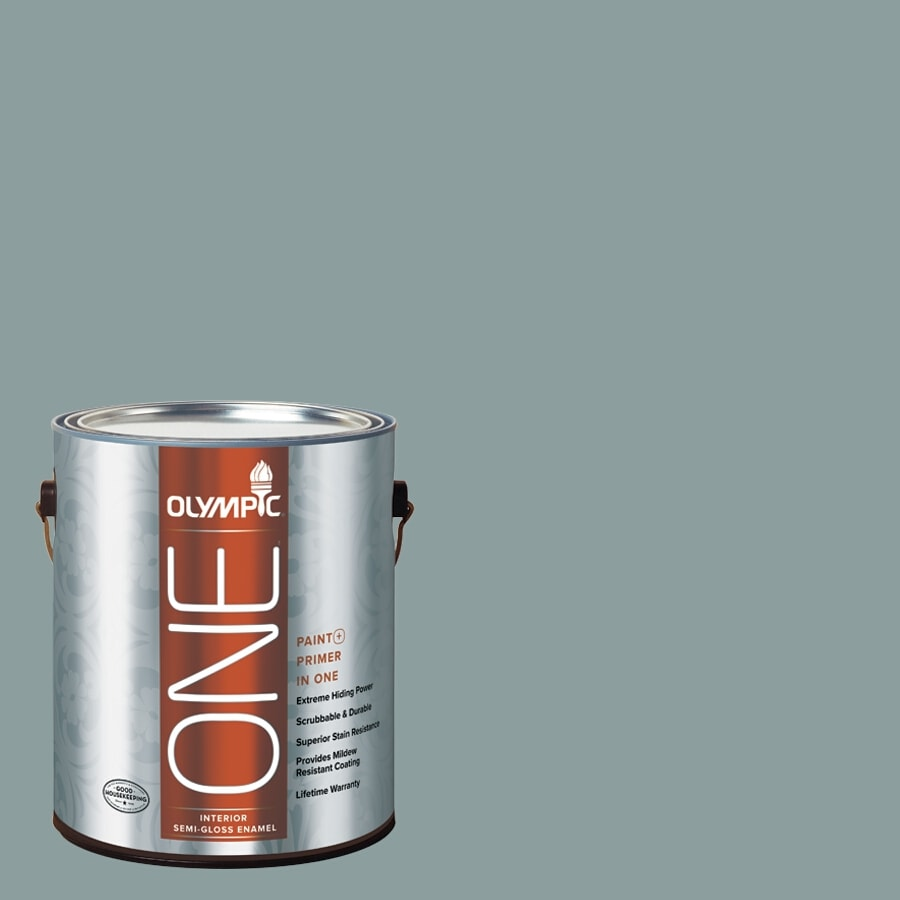 Olympic ONE Aqua Smoke Semi-Gloss Latex Interior Paint and Primer In One (Actual Net Contents: 116-fl oz)