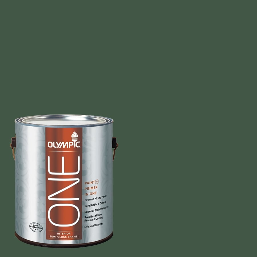 Olympic ONE Royal Hunter Green Semi-Gloss Latex Interior Paint and Primer In One (Actual Net Contents: 114-fl oz)