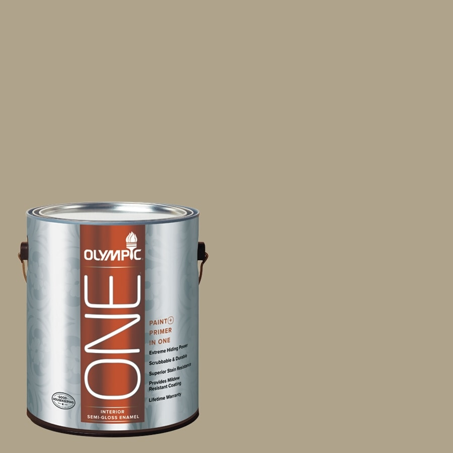Olympic ONE Olive Gray Semi-Gloss Latex Interior Paint and Primer In One (Actual Net Contents: 116-fl oz)