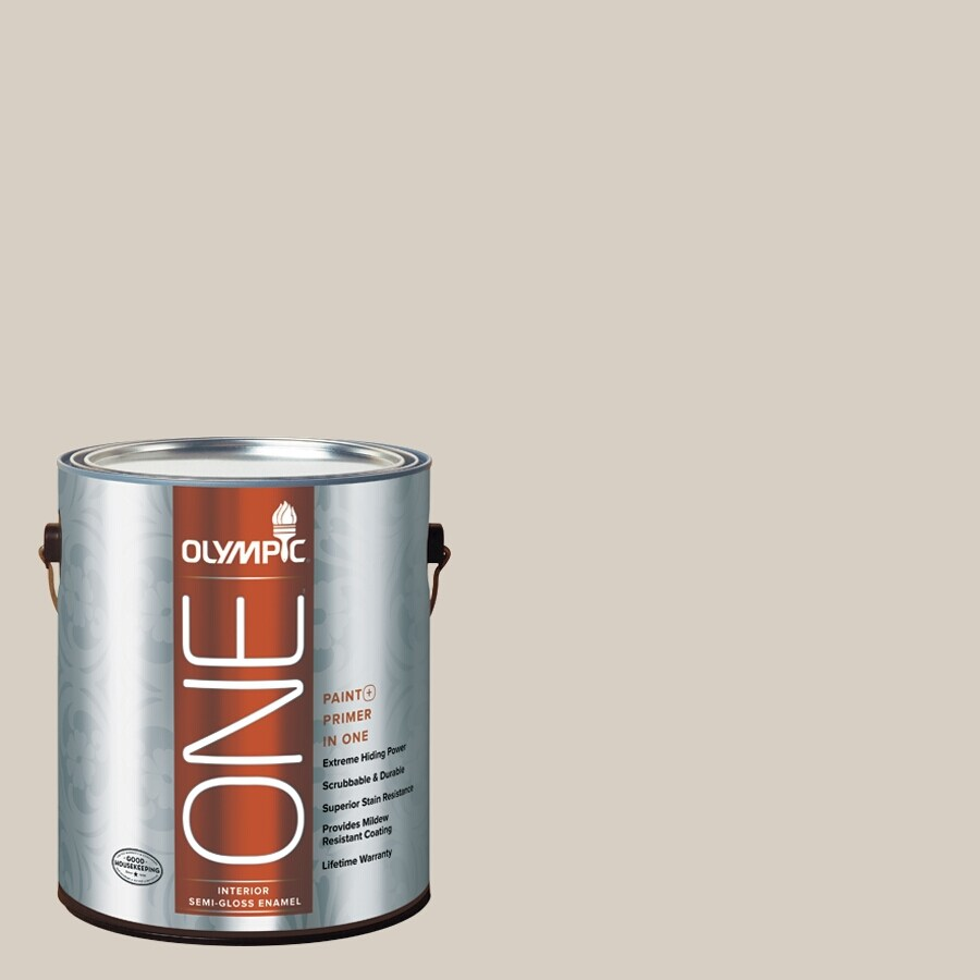 Olympic ONE Gray Beige Semi-Gloss Latex Interior Paint and Primer In One (Actual Net Contents: 124-fl oz)
