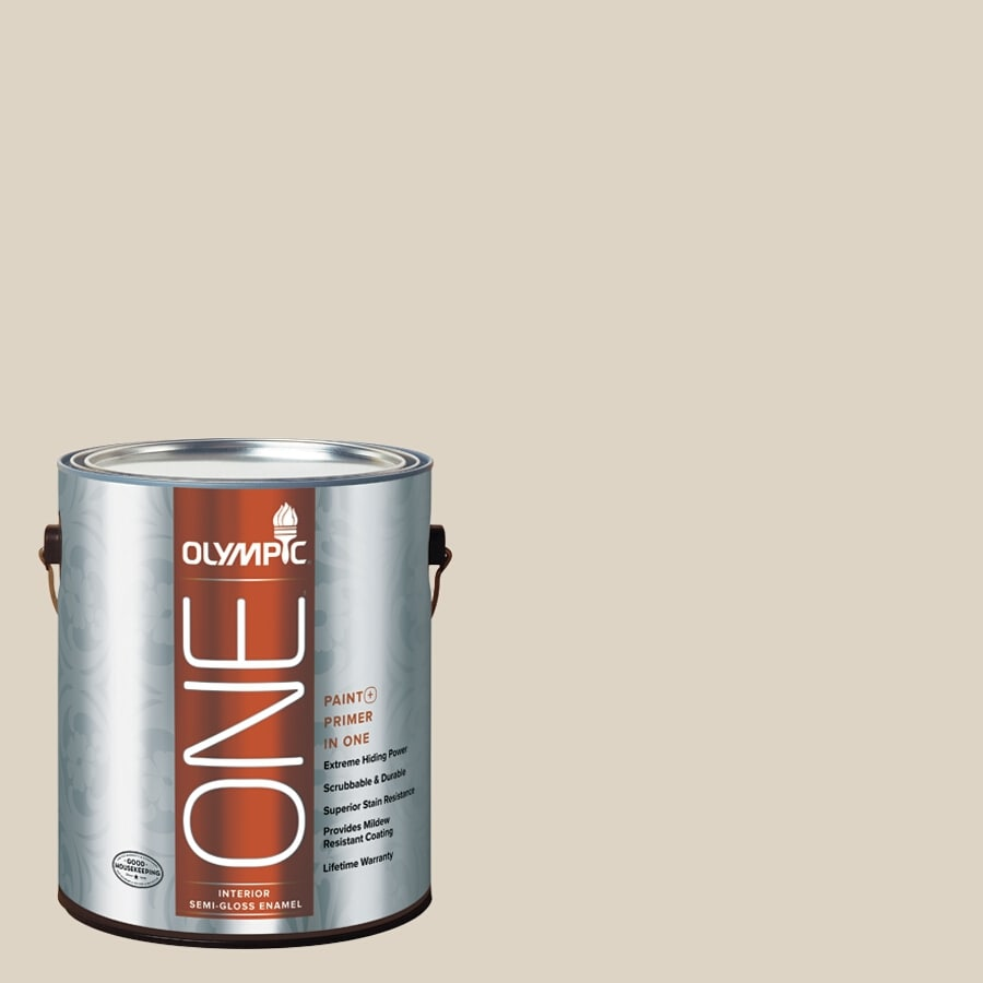 Olympic ONE Drifting Dune Semi-Gloss Latex Interior Paint and Primer In One (Actual Net Contents: 124-fl oz)
