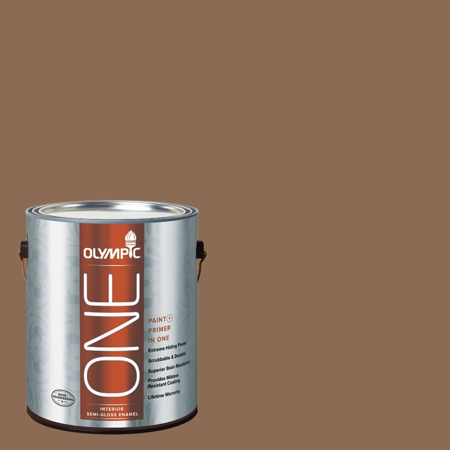 Olympic ONE Caravel Brown Semi-Gloss Latex Interior Paint and Primer In One (Actual Net Contents: 114-fl oz)