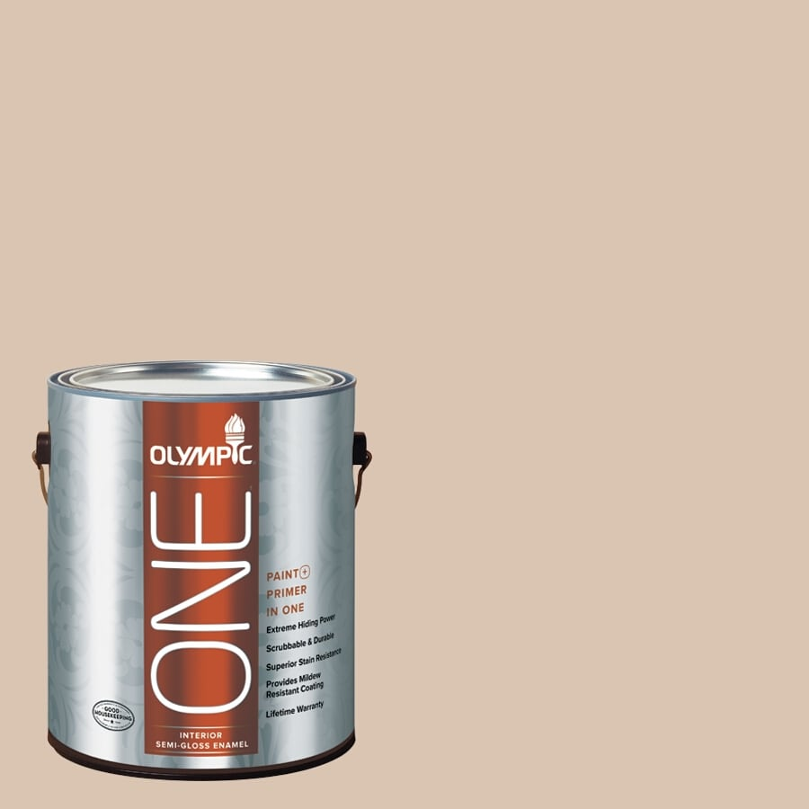 Olympic ONE Imperial Sand Semi-Gloss Latex Interior Paint and Primer In One (Actual Net Contents: 124-fl oz)
