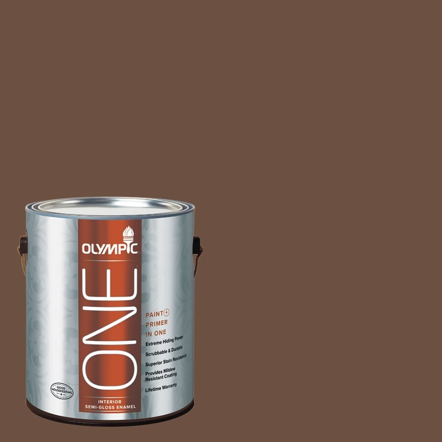 Olympic ONE Chocolate Pudding Semi-Gloss Latex Interior Paint and Primer In One (Actual Net Contents: 114-fl oz)