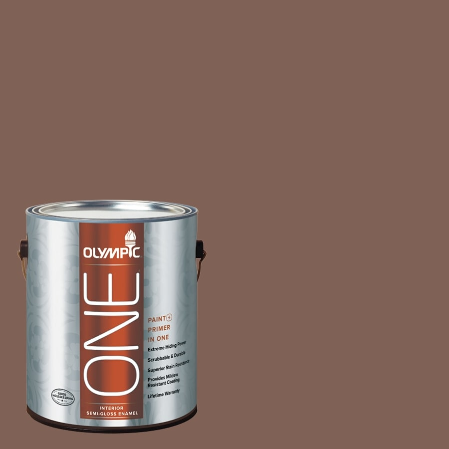 Olympic ONE Belgian Chocolate Semi-Gloss Latex Interior Paint and Primer In One (Actual Net Contents: 114-fl oz)