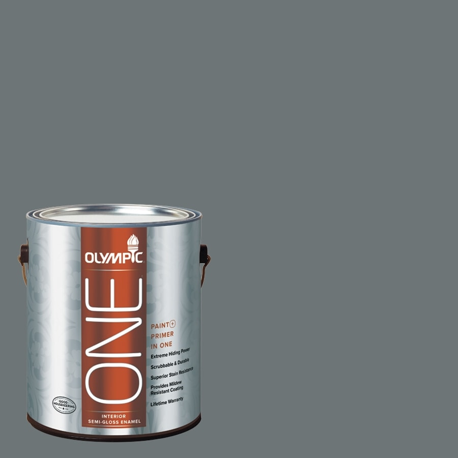 Olympic ONE Volcanic Ash Semi-Gloss Latex Interior Paint and Primer In One (Actual Net Contents: 114-fl oz)
