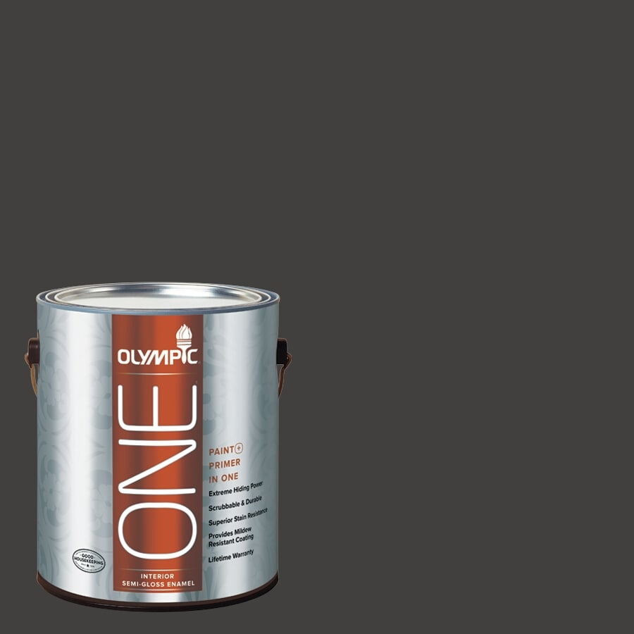 Olympic ONE Black Magic Semi-Gloss Latex Interior Paint and Primer In One (Actual Net Contents: 114-fl oz)