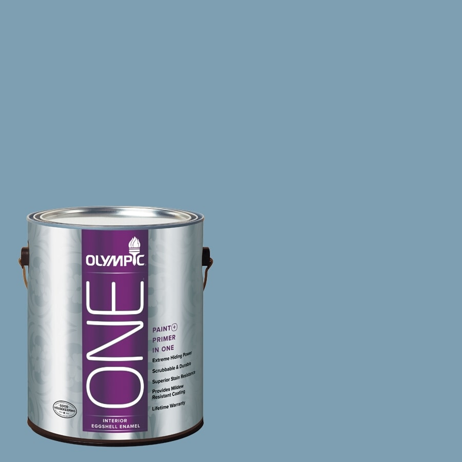 Olympic ONE Feelin-ft Blue Eggshell Latex Interior Paint and Primer in One (Actual Net Contents: 116-fl oz)