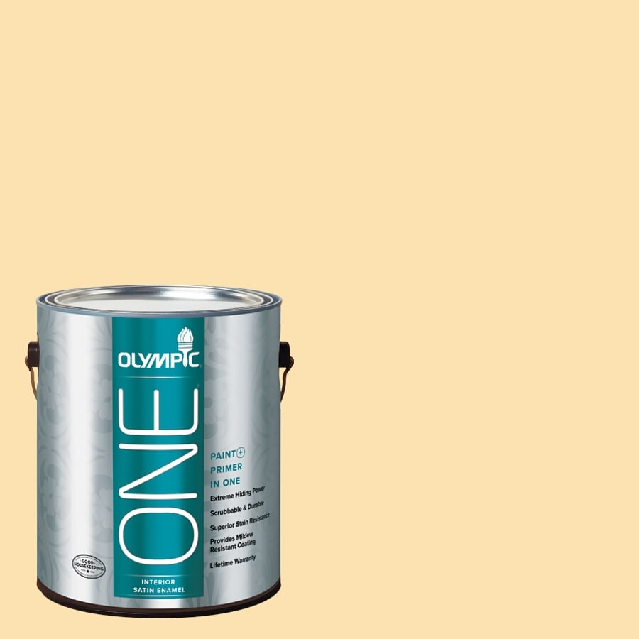 Olympic ONE Flax Satin Latex Interior Paint and Primer In One (Actual Net Contents: 124-fl oz)