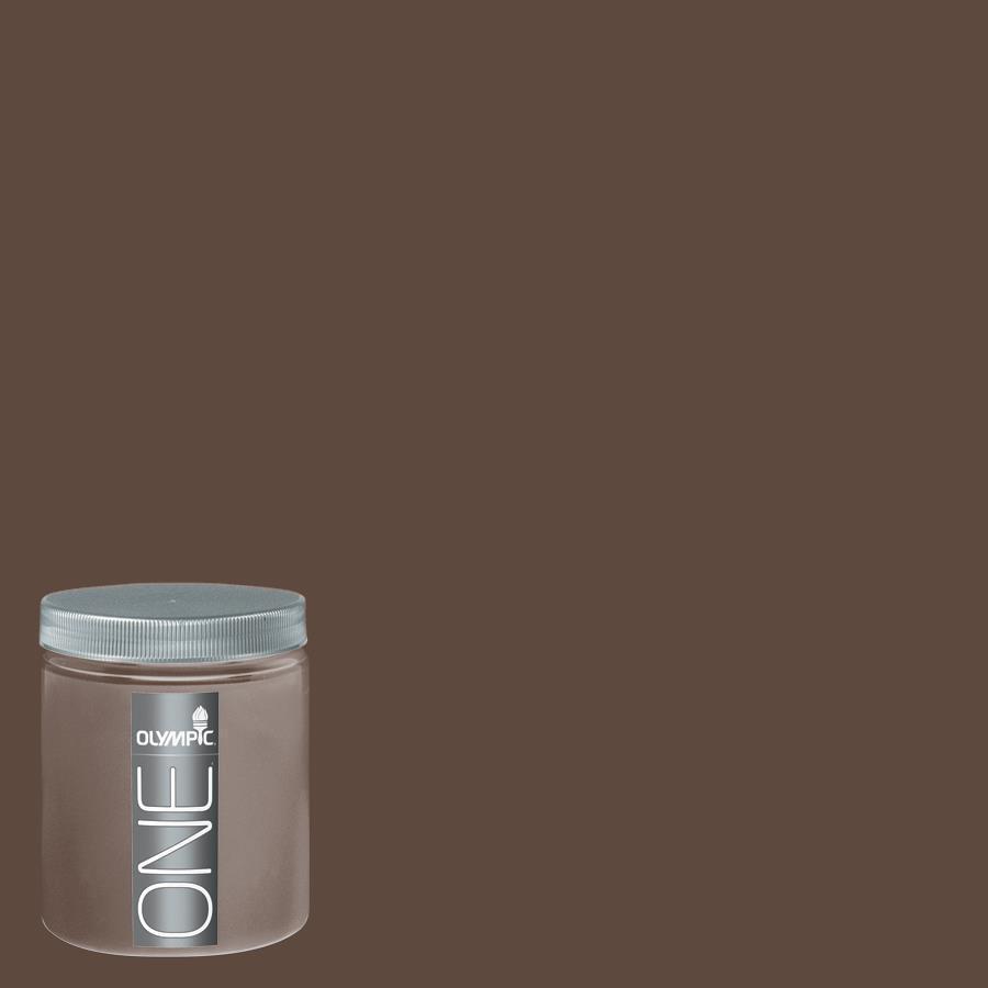 Olympic 8-oz Fudge Truffle Interior Satin Paint Sample