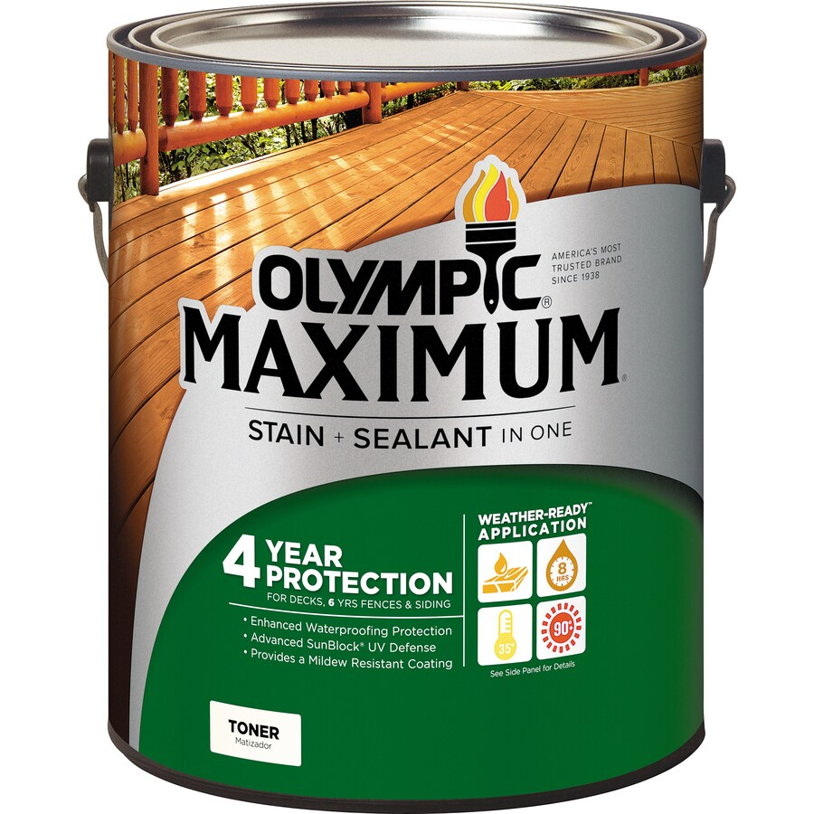 Olympic Maximum Pre Tinted Canyon Brown Transpa Exterior Stain Actual Net Contents 128