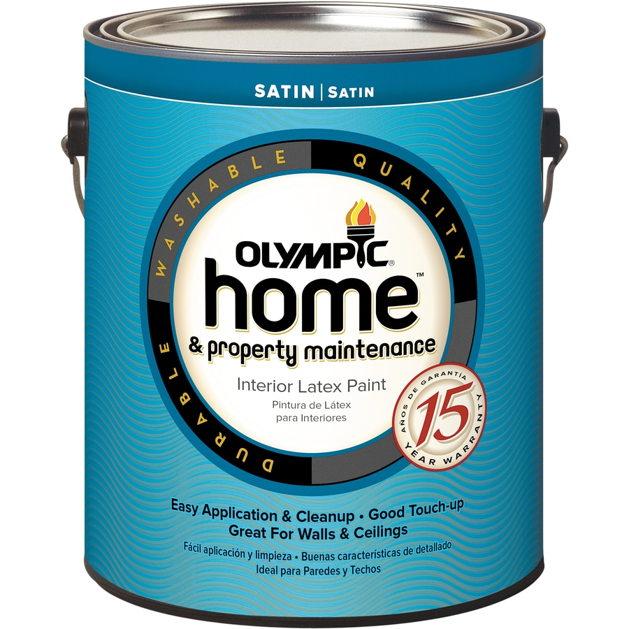 White Latex Paint : Shop olympic home white satin latex interior paint actual