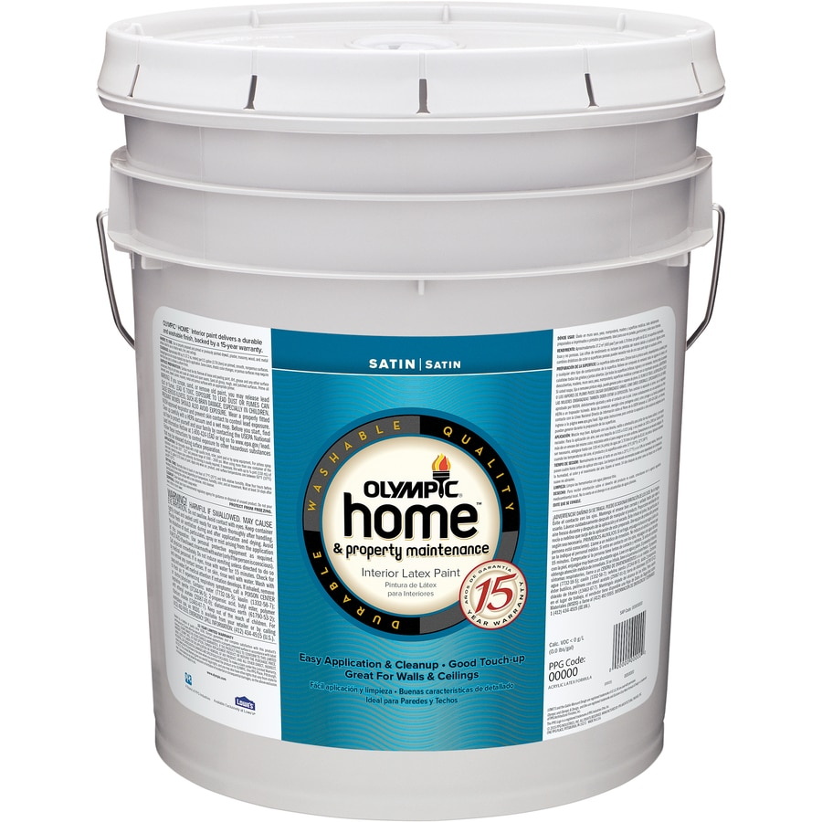 Olympic Home™ 5 Gallon Size Container Interior Satin Tintable White Latex-Base Paint (Actual Net Contents: 619-fl oz)
