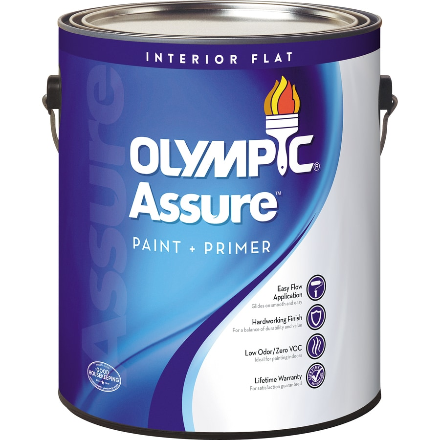 Olympic N/A White Flat Latex Interior Paint and Primer in One (Actual Net Contents: 124-fl oz)