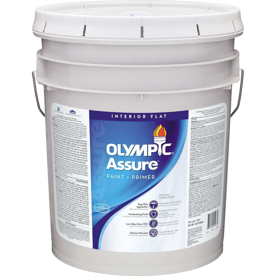 Olympic White Flat Latex Interior Paint and Primer in One (Actual Net Contents: 620-fl oz)
