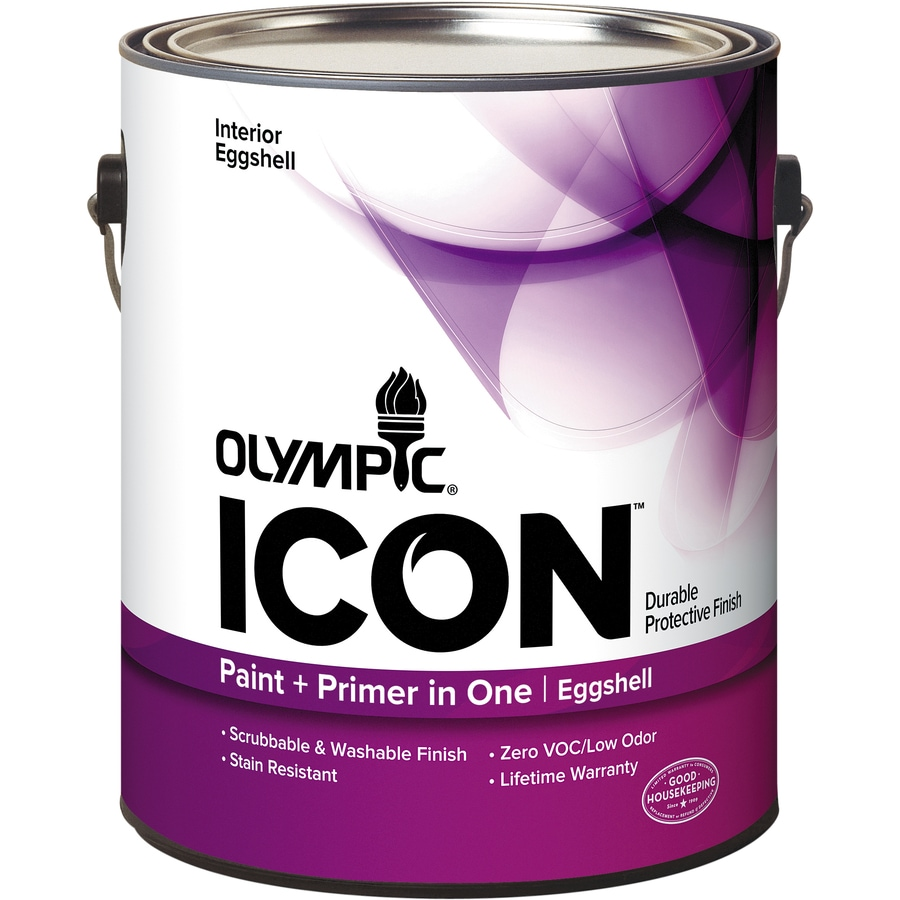 Olympic Icon White Eggshell Latex Interior Paint and Primer in One (Actual Net Contents: 124-fl oz)