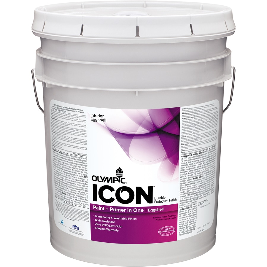 Olympic Icon White Eggshell Latex Interior Paint and Primer in One (Actual Net Contents: 620-fl oz)