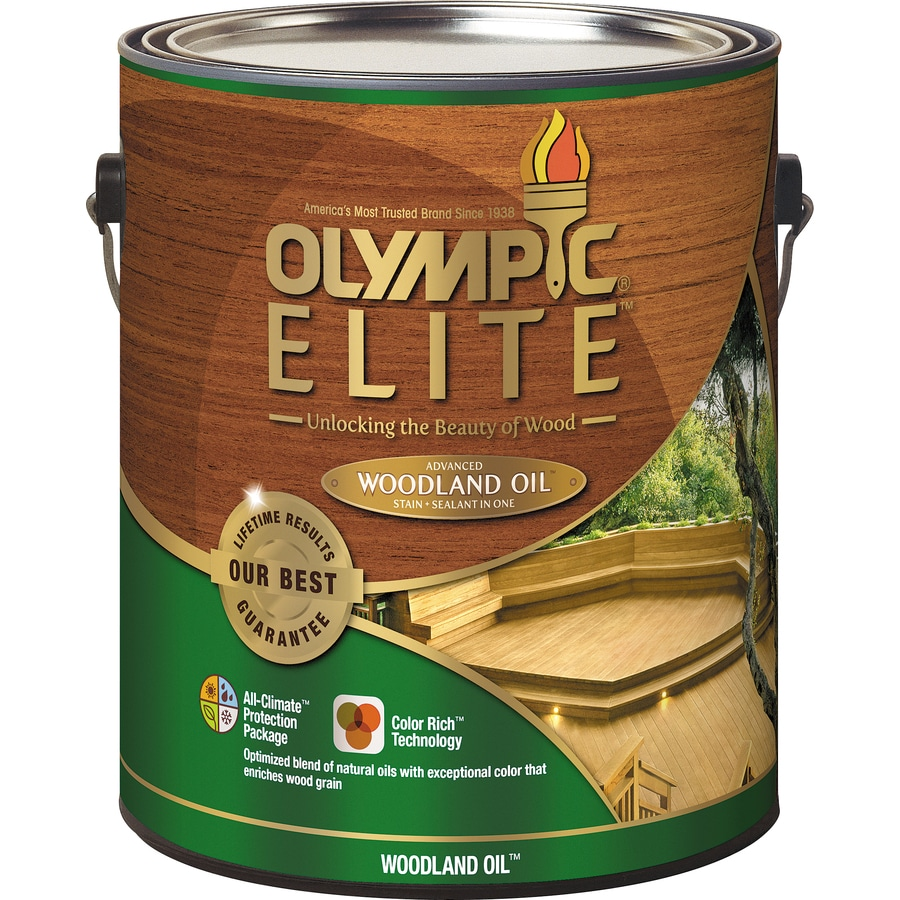 Olympic ELITE Woodland Oil Kona Brown Transparent Exterior Stain (Actual Net Contents: 128-fl oz)