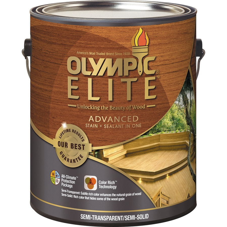 Olympic Elite Tintable Tan Base Semi-Transparent/Semi-Solid Exterior Stain (Actual Net Contents: 120-fl oz)
