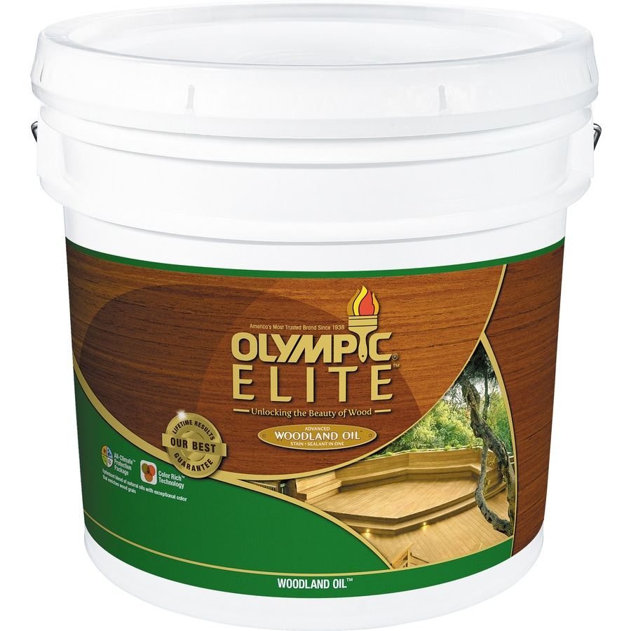 Olympic Elite Woodland Oil Mahogany Blaze Transparent Exterior Stain (Actual Net Contents: 384-fl oz)