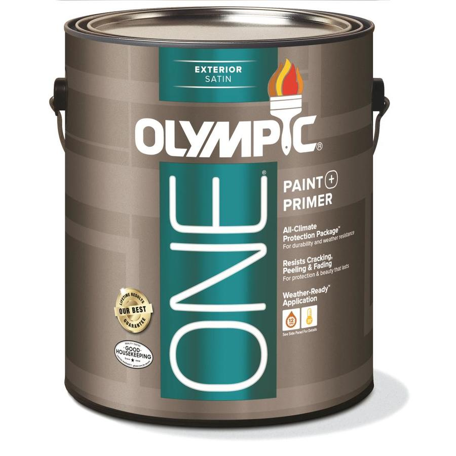 Shop Olympic One Base 1 Ultra White Satin Acrylic Exterior Paint Actual Net Contents 124 Fl Oz
